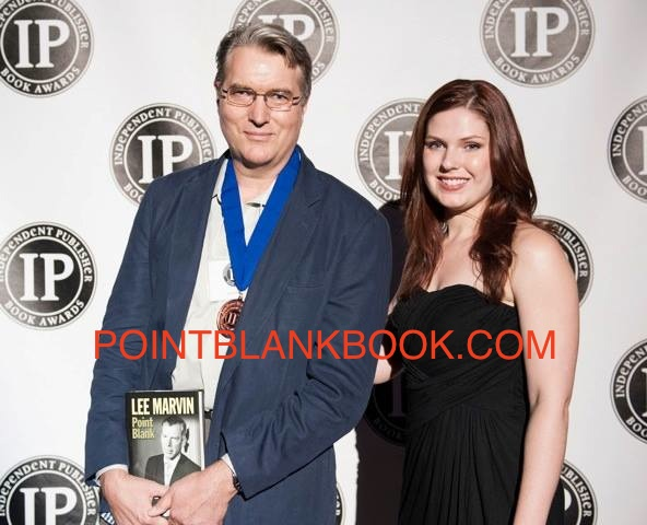 Publisher Tim Schaffner accepting MY BRONZE MEDAL in NY's Independent Publisher's Award Ceremony last week for Lee Marvin: Point Blank. 6/5/13