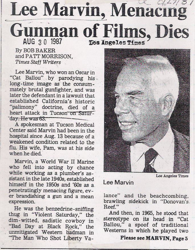 L.A. Times Obit for Lee Marvin