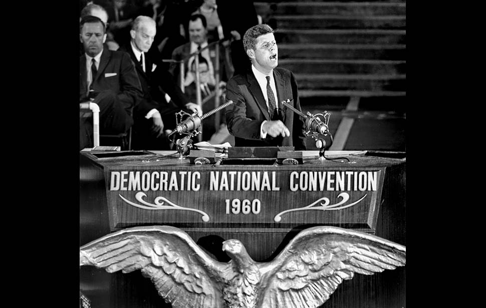July 15, 1960: Sen. John F. Kennedy during his acceptance speech at the Democratic National Convention. About 50,000 attended the final session held at the Los Angeles Memorial Coliseum. Earlier sessions were held in the Sports Arena. This photo was published in the July 16, 1960 LA Times.