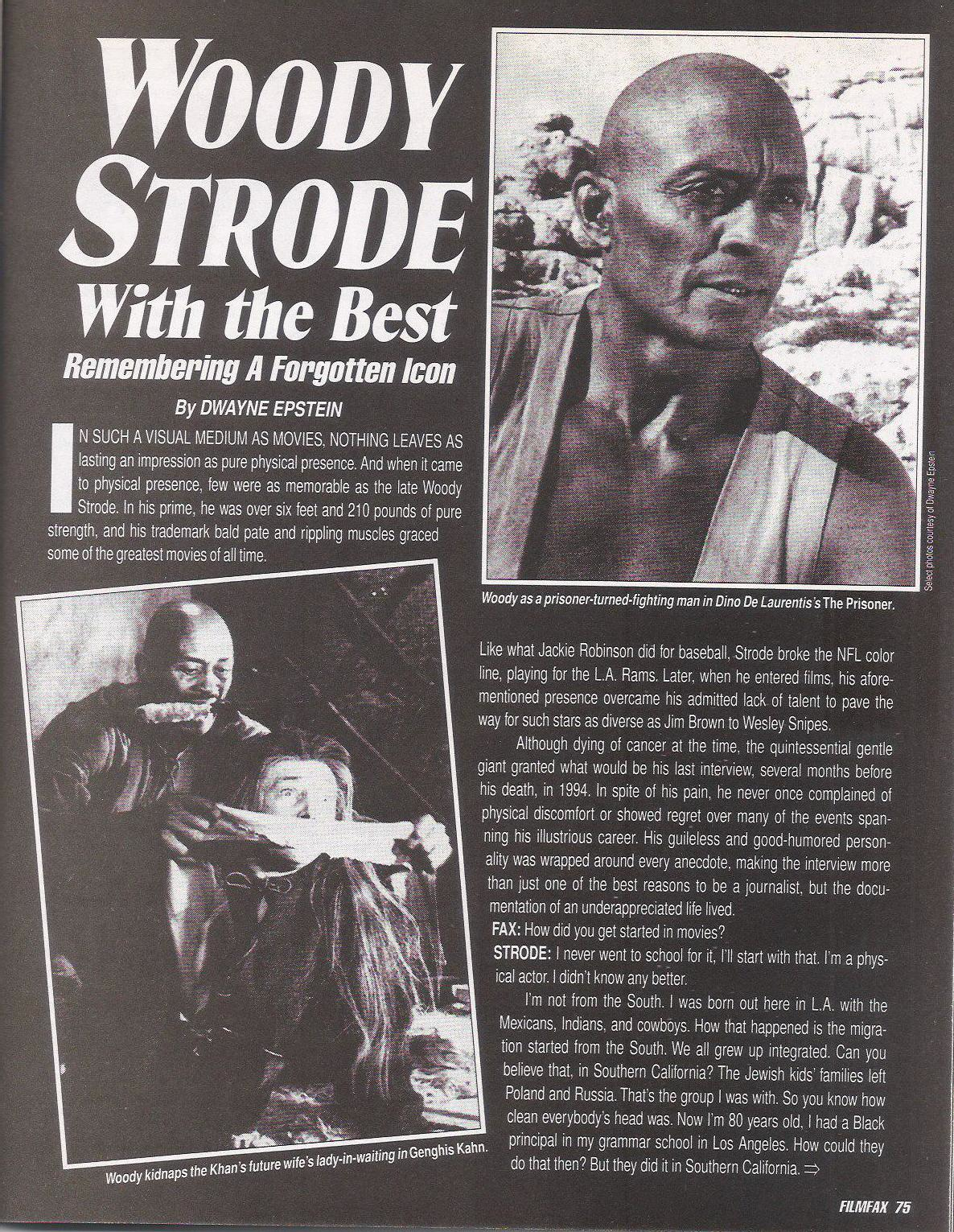 Woody Strode Filmfax interview, Page 1