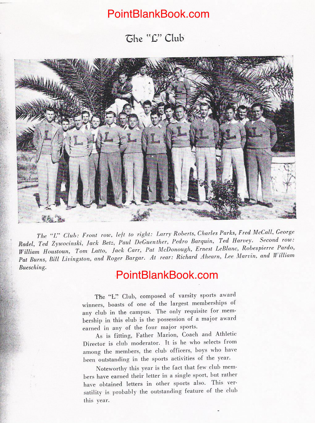 1942 St. Leo yearbook shows Lee Marvin (top of photo in summer suit) eanred his track letter.