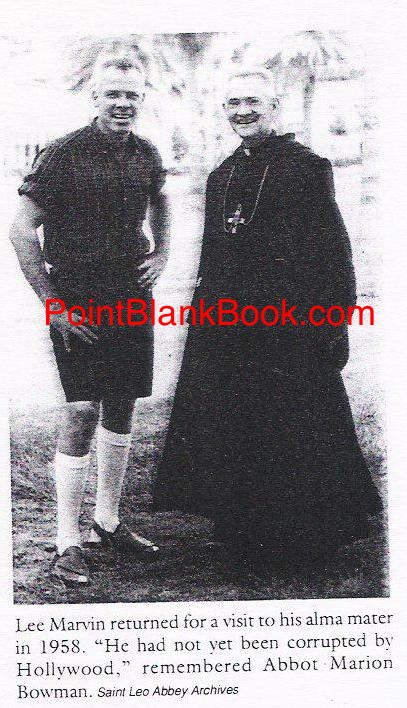 Rare photo of Lee Marvin visting Fr. Bowman at St. Leo decades after he attended.