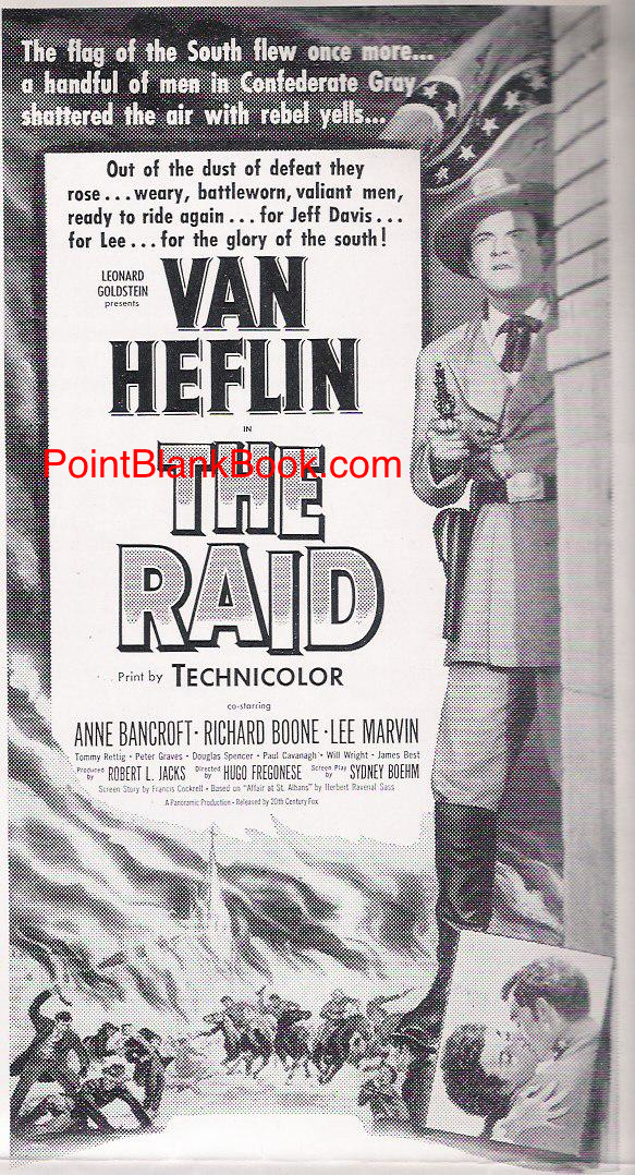 One of two ads from the pressbook for THE RAID with Lee Marvin depicted in the bottom left corner.