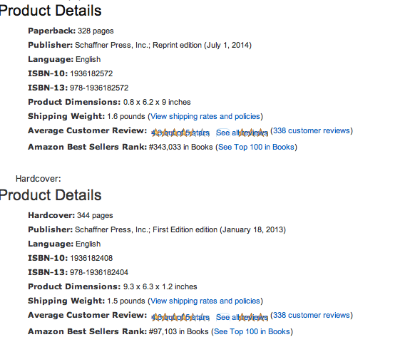 Paperback ranking and then hardcover ranking, both from Amazon.