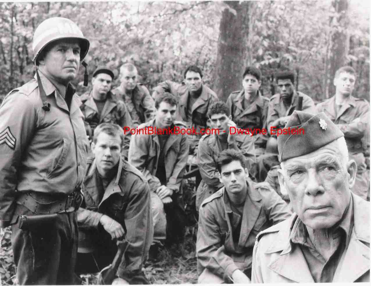 (left) RIchard Jaeckel reuturns as Sgt. Bowen shown with, among others, Larry Wilcox (next to Jaeckel) of CHiPS fame and Wiseguy's Ken Wahl, pcitured next to Marvin among the cast.
