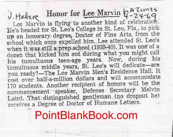 Joyce Haber's L.A. Times blurb of Lee Marvin receiving a degree and Dorm Hall commemoration.