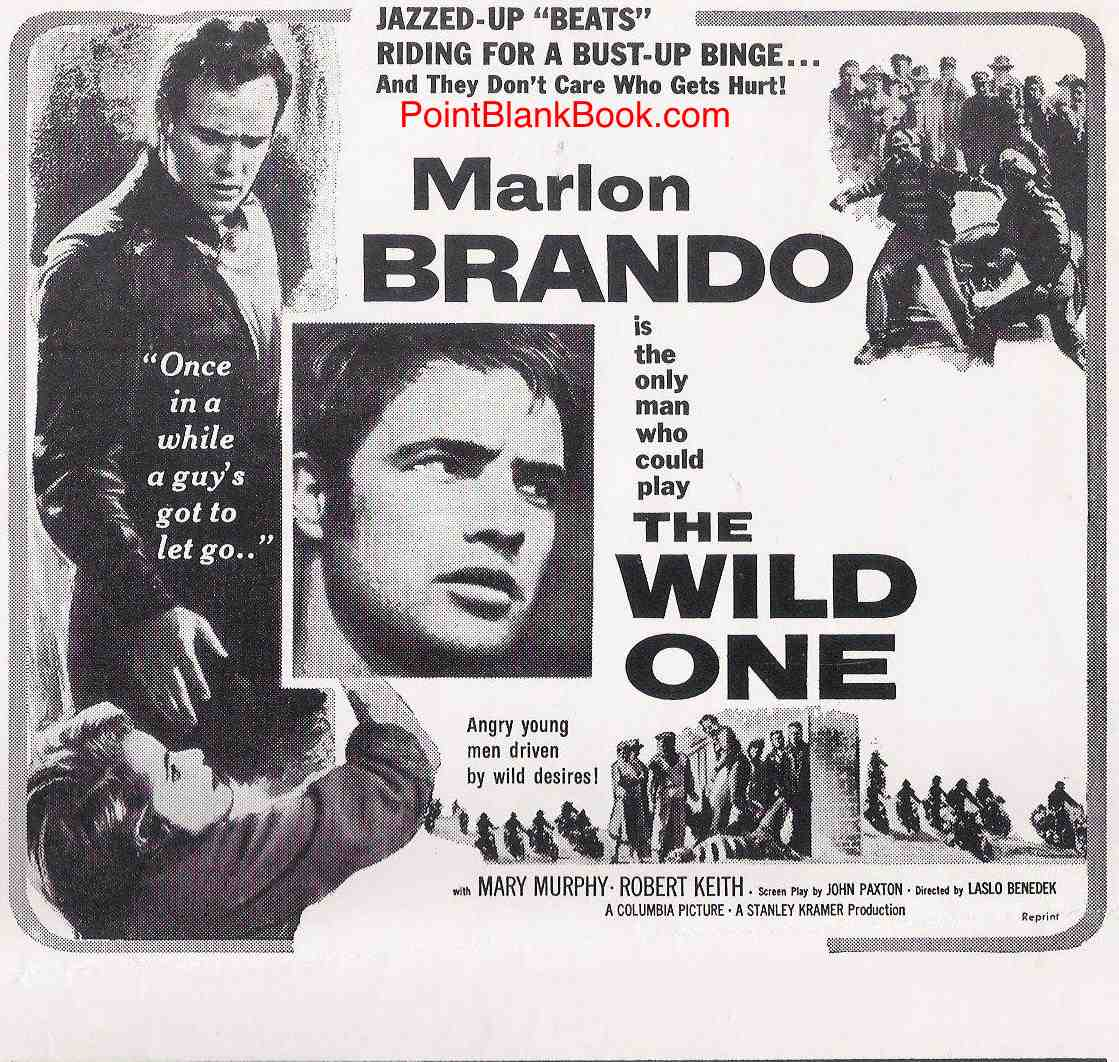 Original ad for The Wild One in which 4th billed Lee Marvin is shown (barely) but not mentioned.