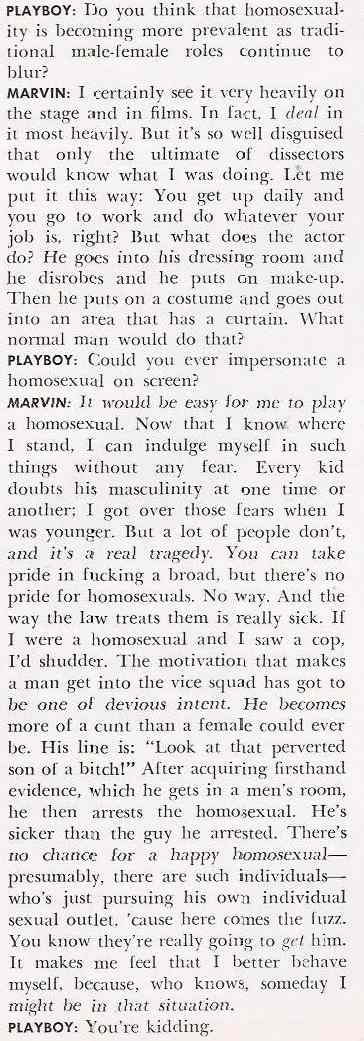 Lee Marvin's comments on what he thinks about homosexuality on film.