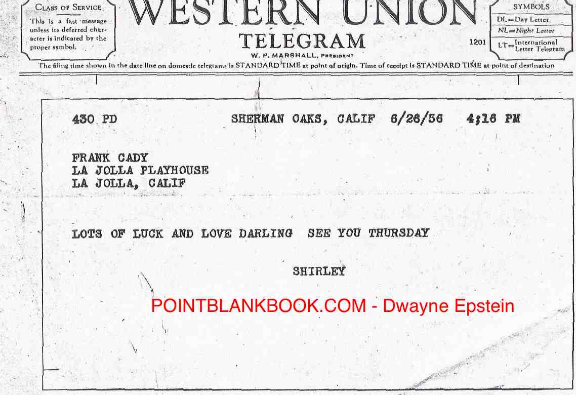 Telegram from Frank Cady's wife.
