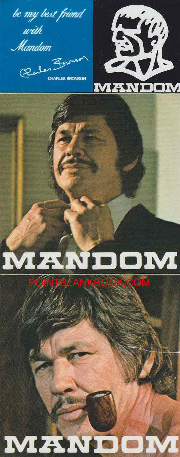 Print ad for Charles Bronson's Japanese Mandom campaign.