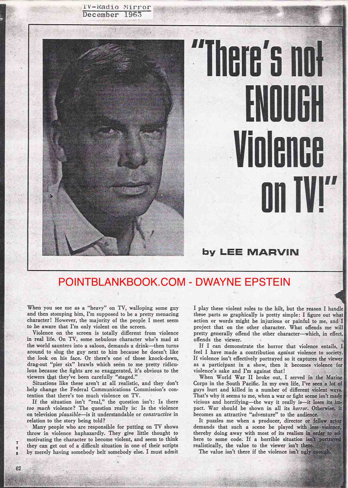 Part 1 of Peter Levinson's ghosted TV violence article for Lee Marvin.