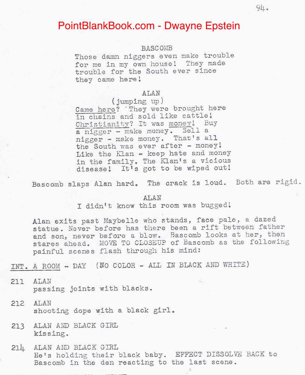 An amazing sequence from Sam Fuller's original script of The Klansman, featuring Marvin's characterof  Bascomb and his son Alan that did not make the final cut.