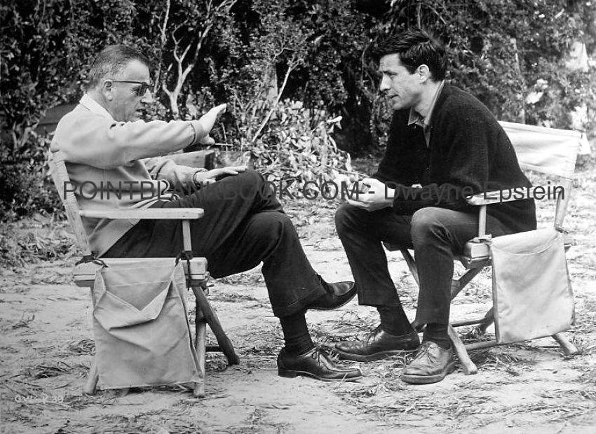 Producer Stanley Kramer making a point to director John Cassavetes on the set of A CHILD IS WAITING. The look on Cassavetes' face betrays the looming storm.