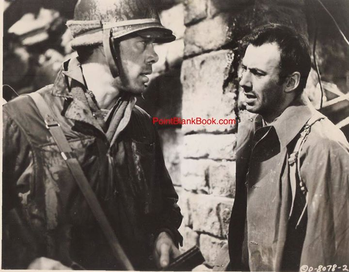 Lee Marvin, in his first leading role, opposite RIchard Kiley in producer Stanley Kramer's taut WWII drama, EIGHT IRON MEN. The working title, believe it or not, was THE DIRTY DOZEN (!).