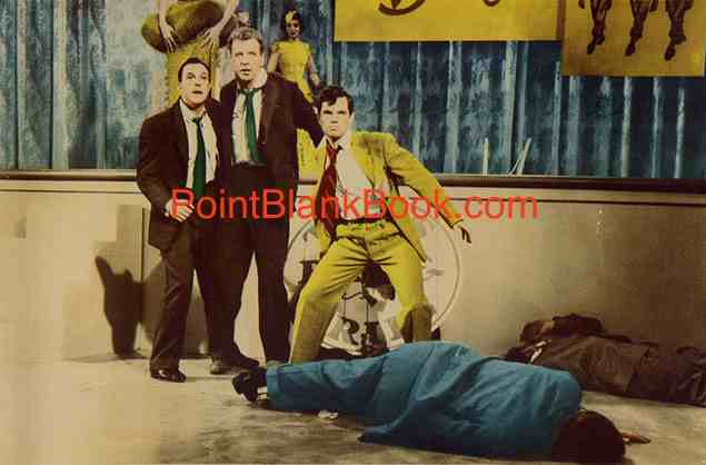 (L-R) Gene Kelly, Dan Dailey & MIchael Kidd survery the damage they wreaked aftet their brawl on live TV.