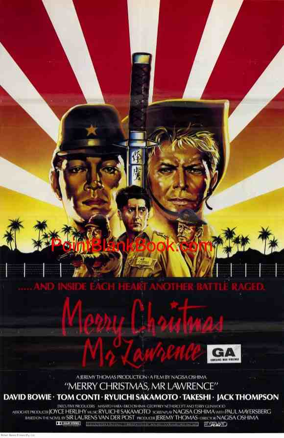 Poster art for MERRY CHRISTMAS, MR. LAWRENCE, one of the few that depicted the entire main cast of Ryuichi Sakamoto, David Bowie, Tom Coniti, Jack Thompson and Takeshi.