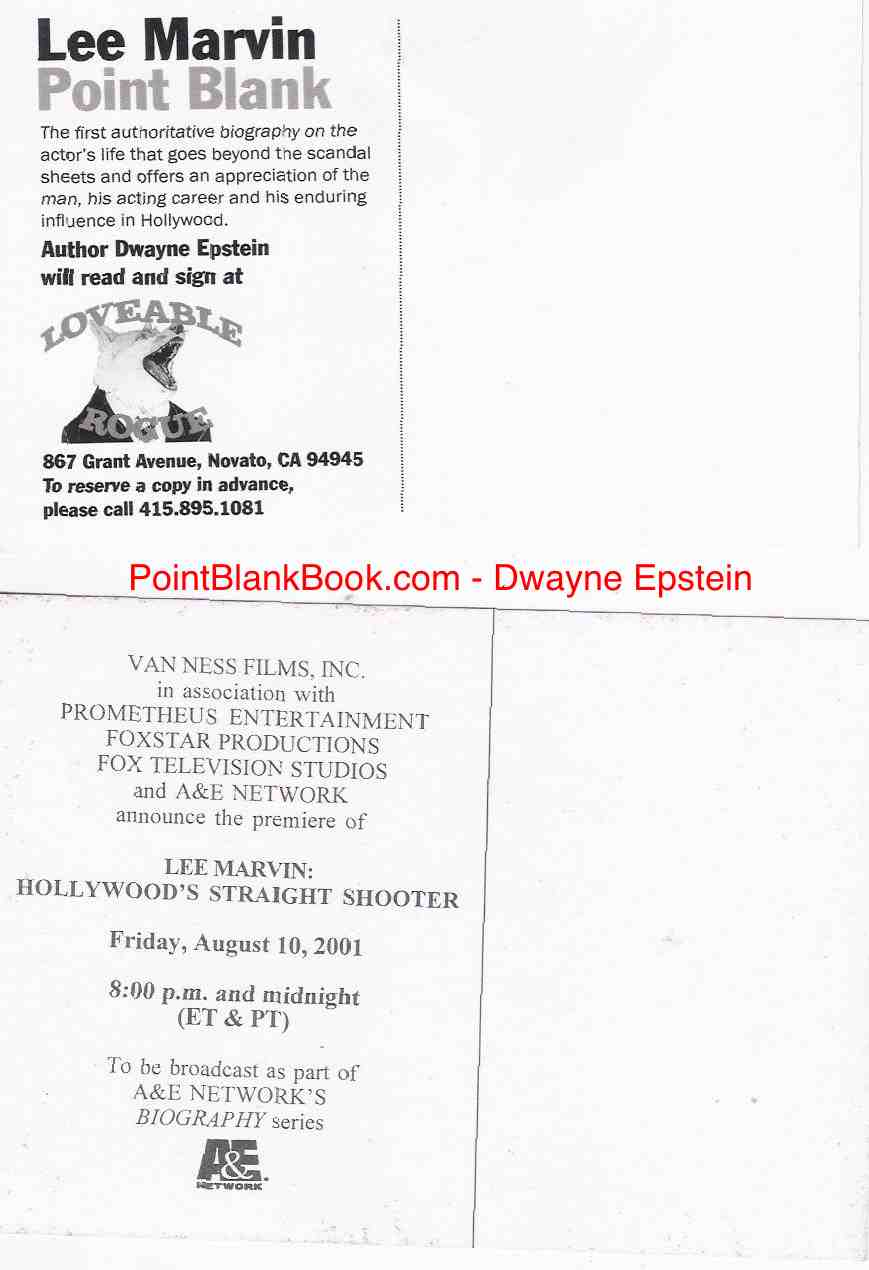 The back of both postcards with info about the A&E biography andCarlos Castillo's Loveable Rogue bookstore.