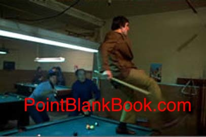Robert DeNiro, with pool cue in hand, takes on all comers in Martin Scorsese's Mean Streets.