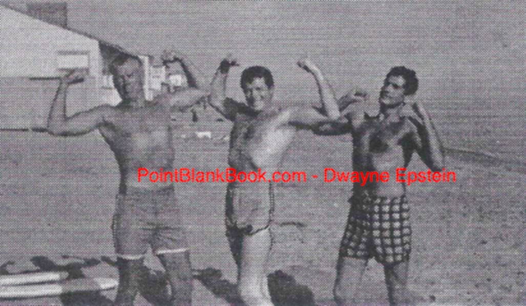 Clowning on the beach are (L-R) Lee Marvin, Robert Horton and neighbor Dr. Hans Kohler. Horton was staying with the Marvins at their beach house while his agent renegotiated his WAGON TRAIN contract. According to Horton, when the studio discovered where he was staying, they met his demans immediately, just to get him away from what they considered Marvin's potentially bad influence.