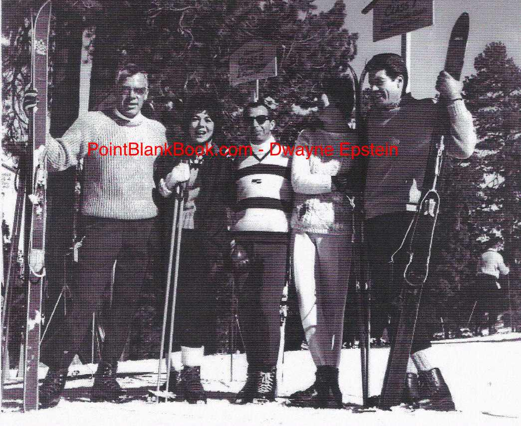 Skiing in Wrightwood, Calif are (L-R) Lee Marvin, Marilyn Horton, unidentified, Betty Marvin and Robert Horton. Betty and Robert had dated in college.