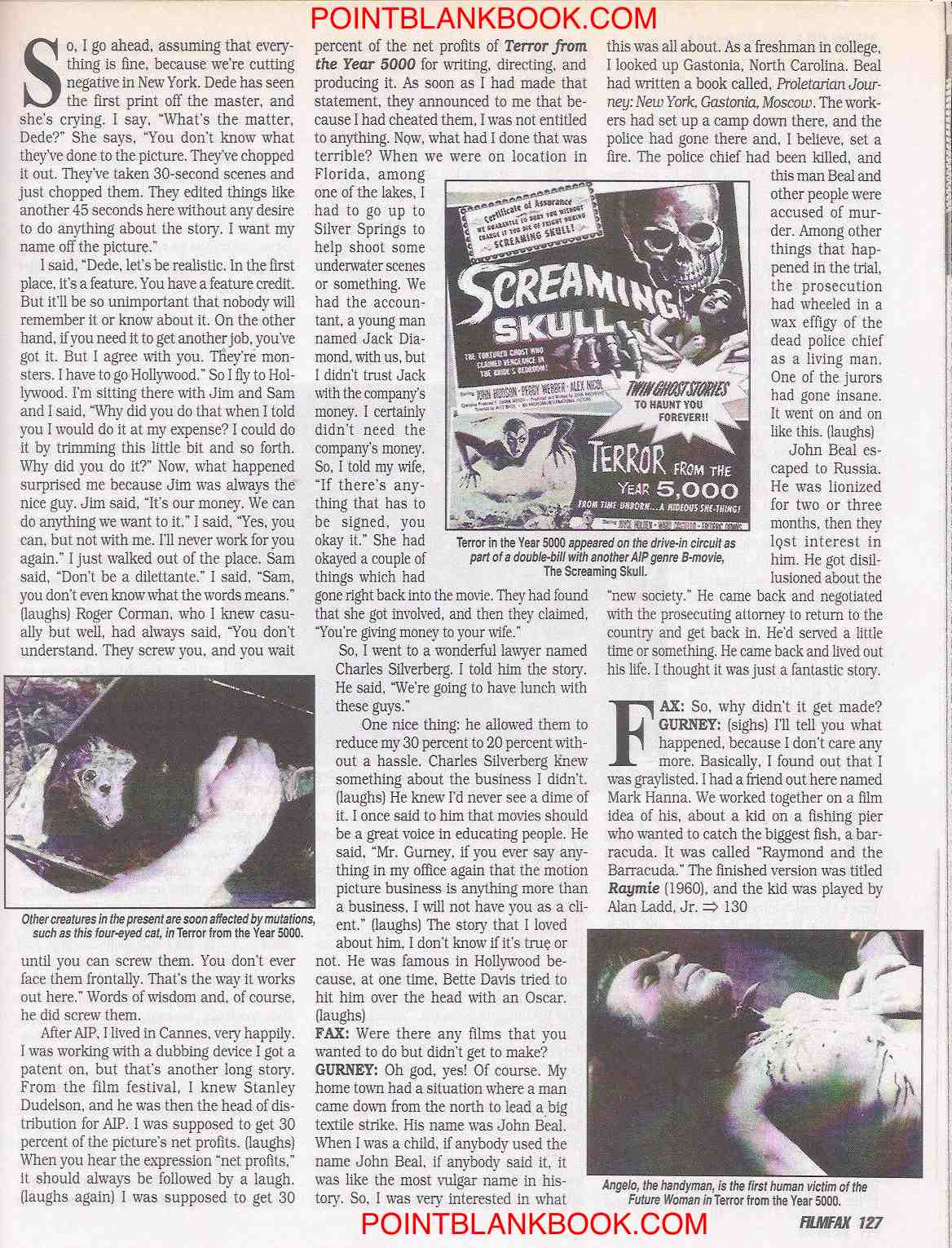 Robert Gurney Filmfax interview, page 12.