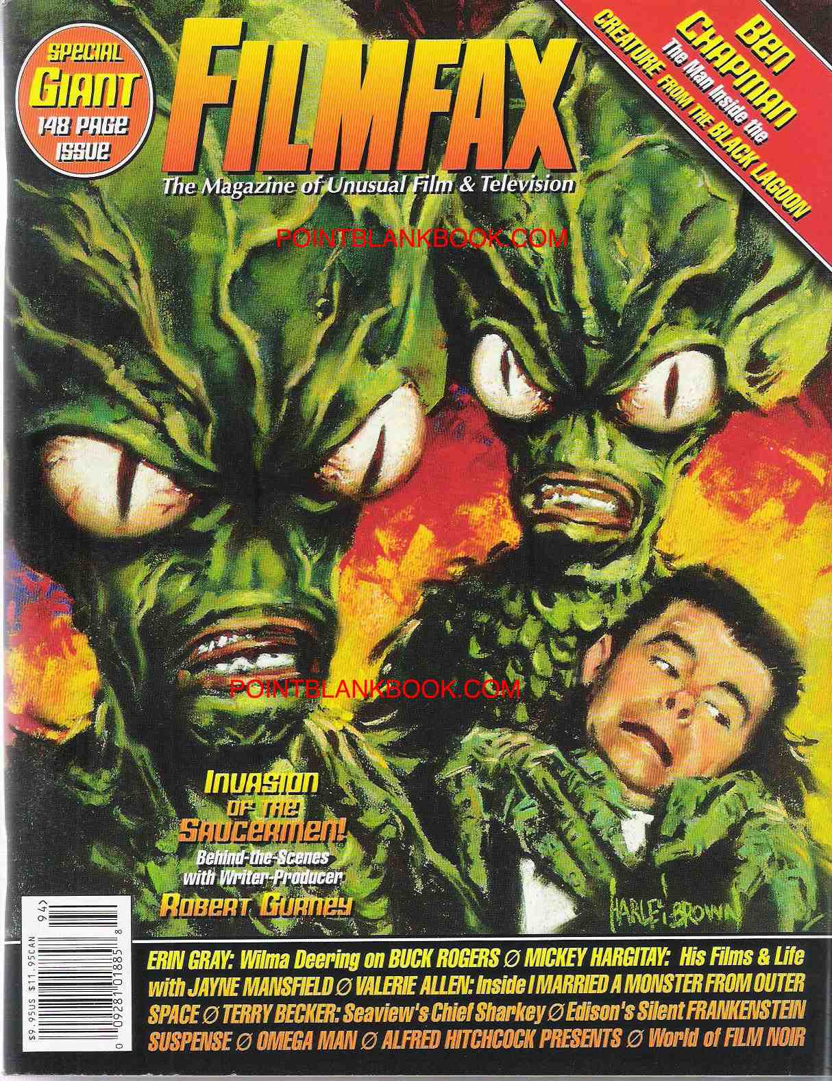 Artist Harley Brown rendered the cover art for the Oct/Nov 2002 issue of Filmfax featuring my interview with filmmaker Robert J. Gurney.