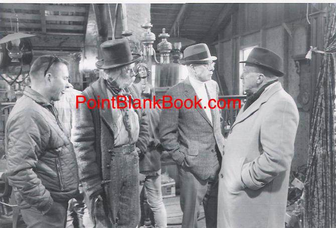 (L-R) Asst. director Tommy Shaw, Lee Marvin, his father Monte, and director Josh Logan, on set for Paint Your Wagon.