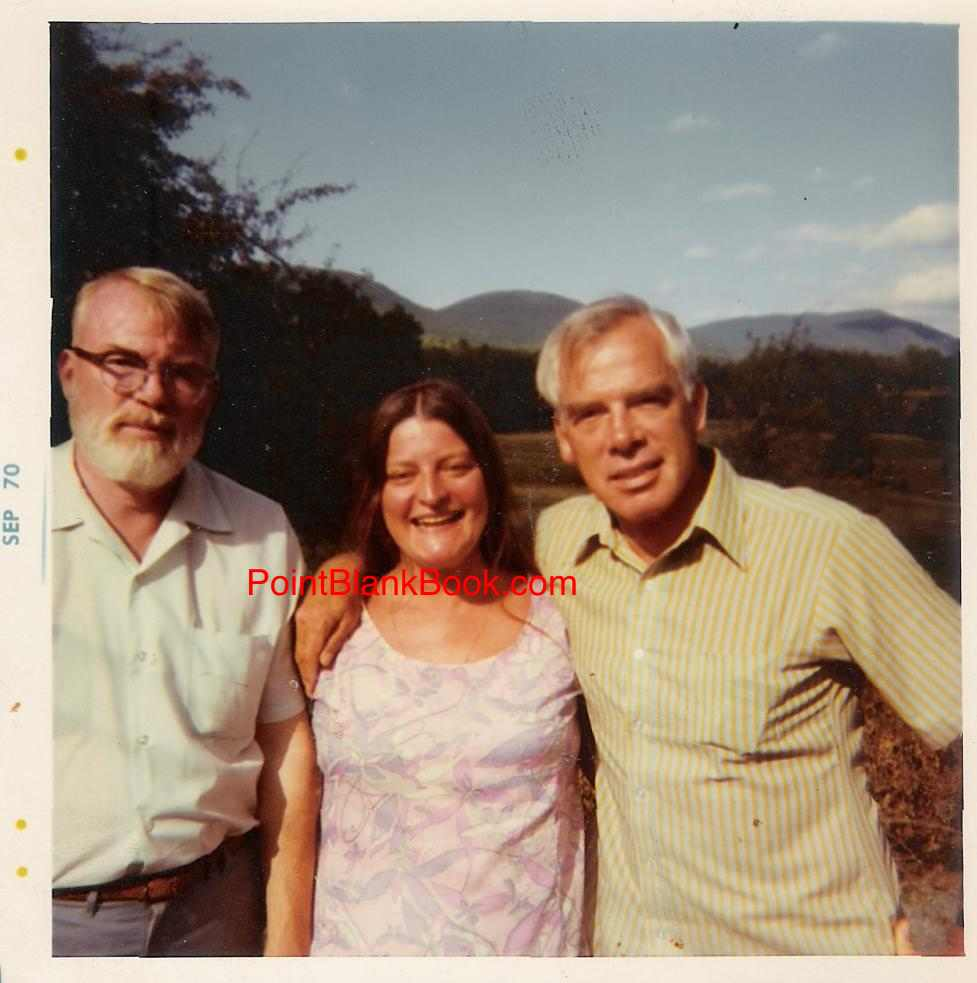 (L-R) A bearded Robert and smiling Joan welcome visiting brother Lee to the Woodstock home.