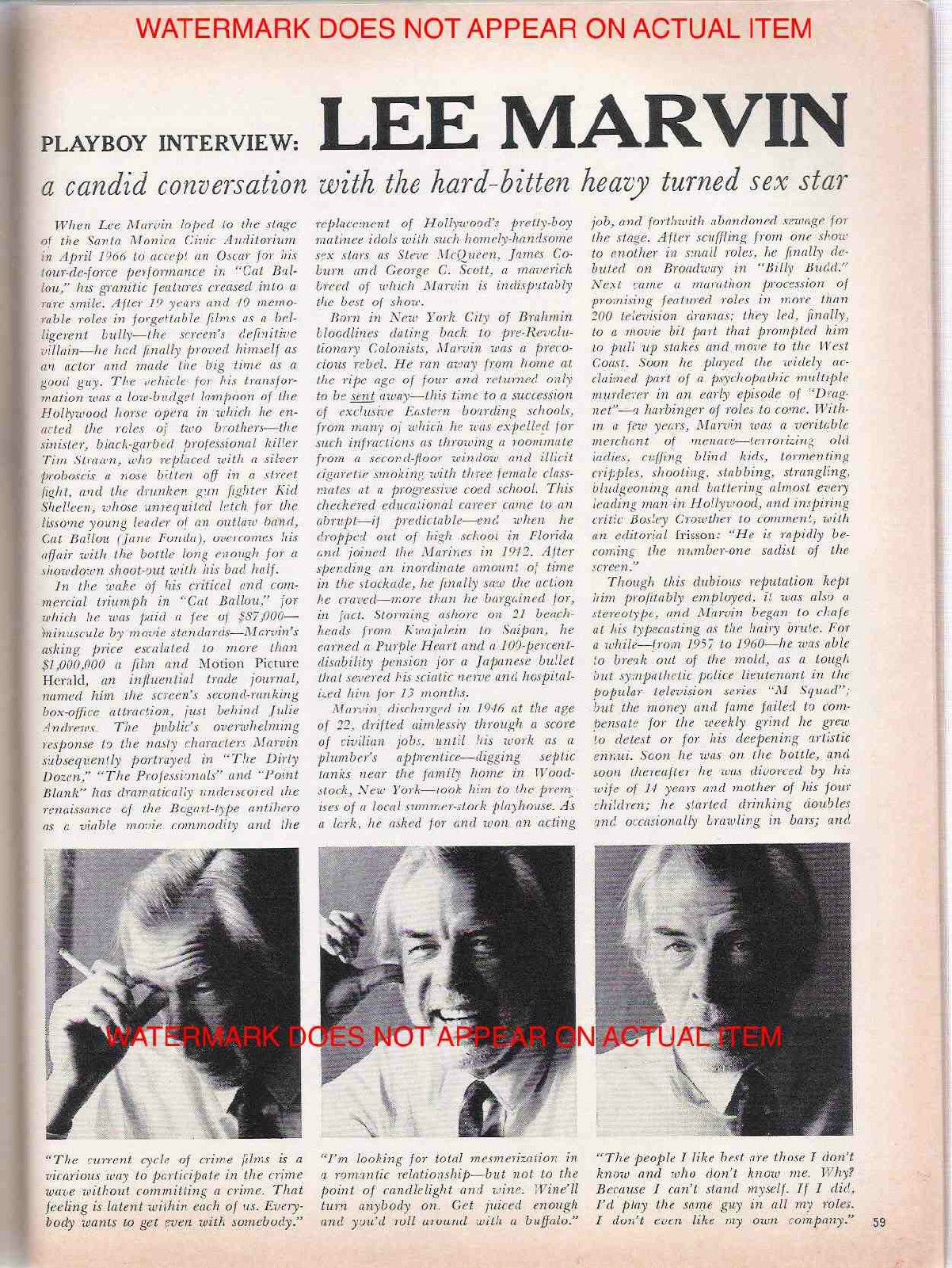 First page of the lengthy and incisive PLAYBOY interview Lee Marvin did for Playboy's 15th Anniversary issue in 1969.