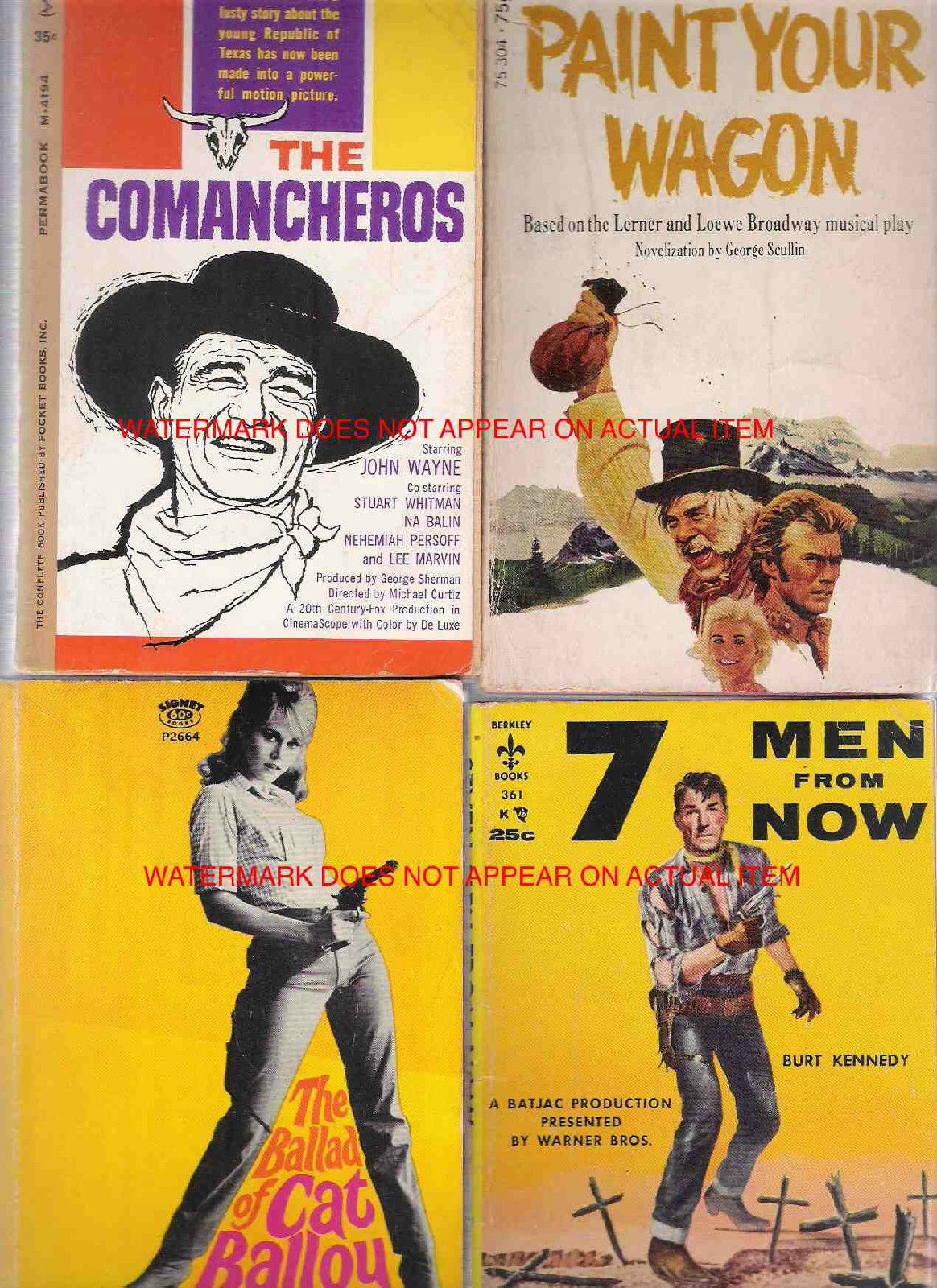 Four Lee Marvin western movie tie-in paperbacks currently available on Ebay.