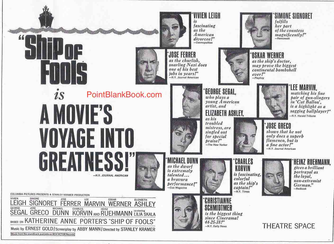 Original ad for Ship of Fools with critics praising the individual performances, even if Christianne Schmidtmer's is a little less lofty.