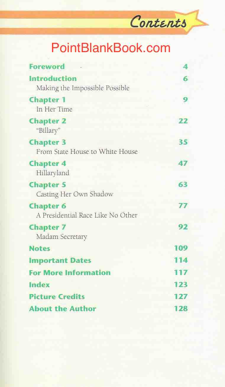 The table of contents for the original and later revised version of Hillary Clinton.