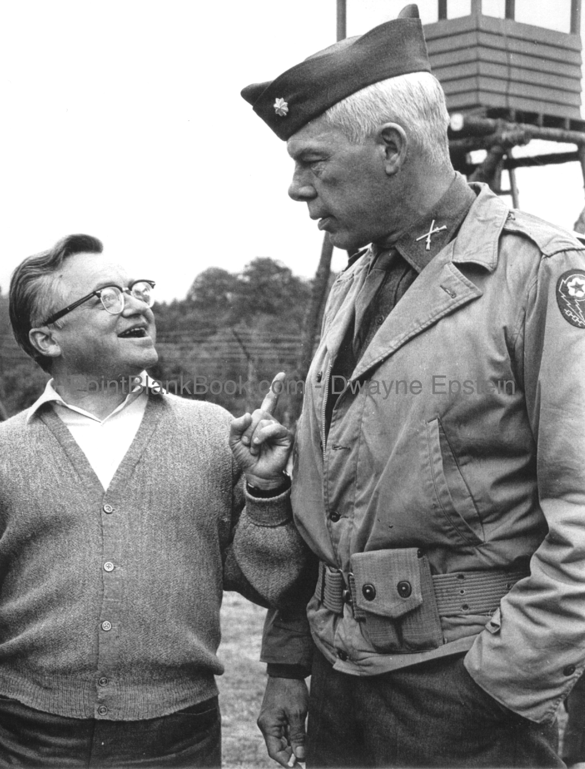 "Fellow childhood movie fans Meyer Mishkin and Lee Marvin on the set of THE DIRTY DOZEN. Mishkin advising his client, ""Lee, don't be a schmuck."""