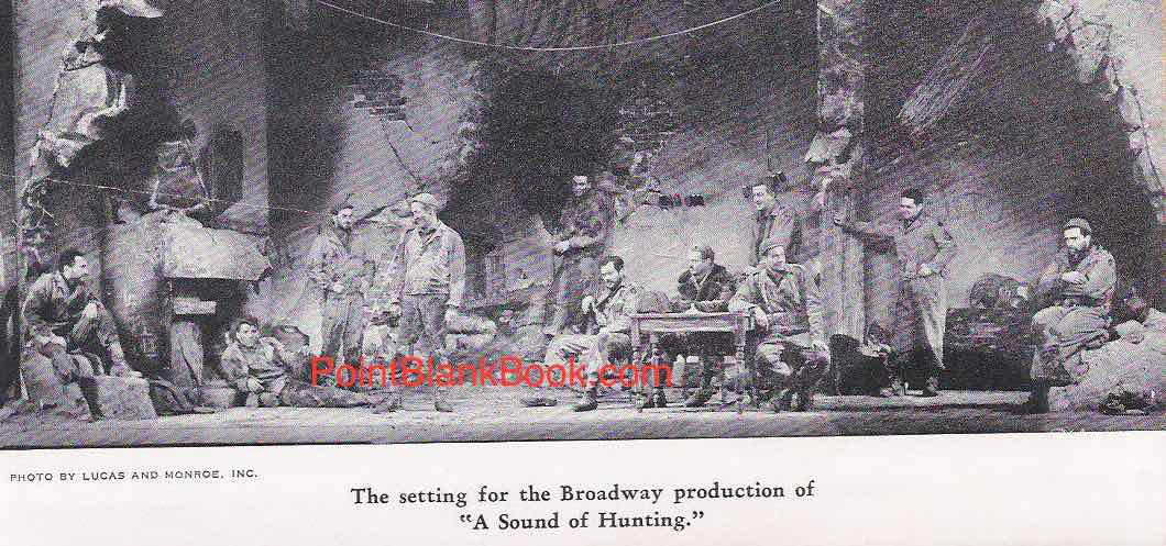 A rare photo depicting the set and entire cast of the short-lived Broadway play, A SOUND OF HUNTING. On the far left is Sam Levene and next to him is Burt Lancaster.