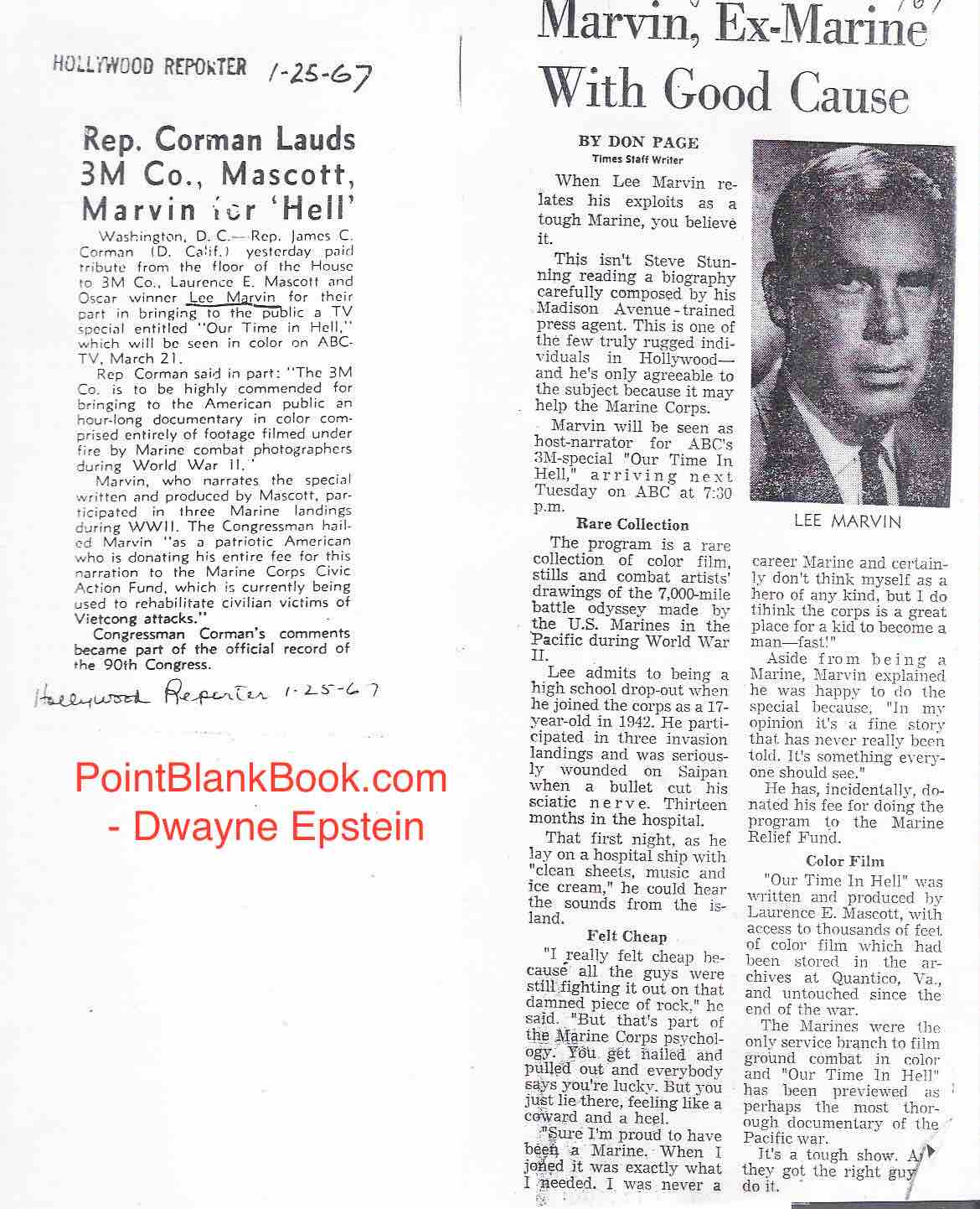 The Hollywood Reporter (left) and the L.A. Times (right) both did write-ups on Lee Marvin's appearance and donation for a TV documentary of rare WWII footage of the USMC in action.