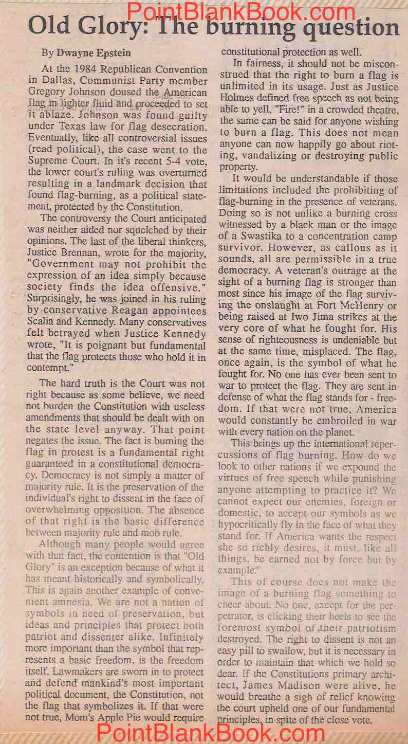 My Cranbury Publication editorial on flag burning from 1989.