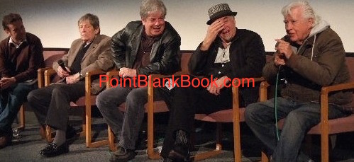 (L-R) Moderator Jim Hemphill, Point Blank producer Jud Bernard, yours truly, Christopher Marvin and Clu Gulager on stage at the Aero Theater as Gulager gives a VERY different version of the story below.
