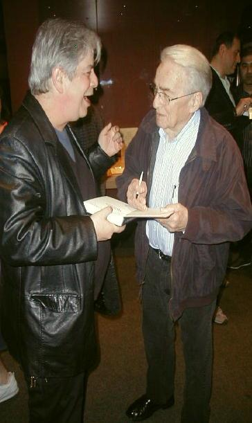 "The author of LEE MARVIN POINT BLANK (left) getting ""Cat Ballou"" director, Elliot Silverstein, to sign his copy of the book at the Egyptian Theatre in 2013."