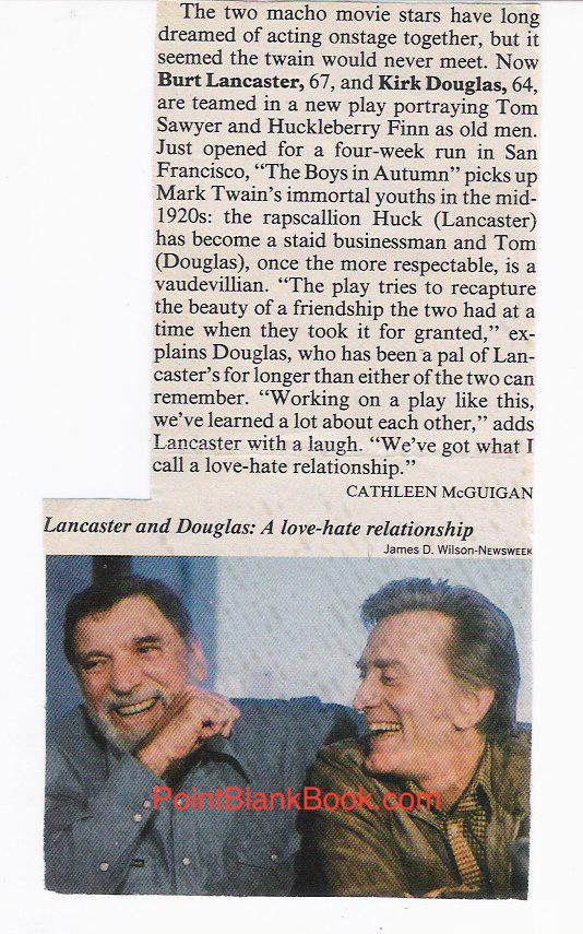 "A Newsweek tidbit I saved proclaiming Kirk Douglas & Burt Lancaster in the play, ""The Boys in Autumn."""