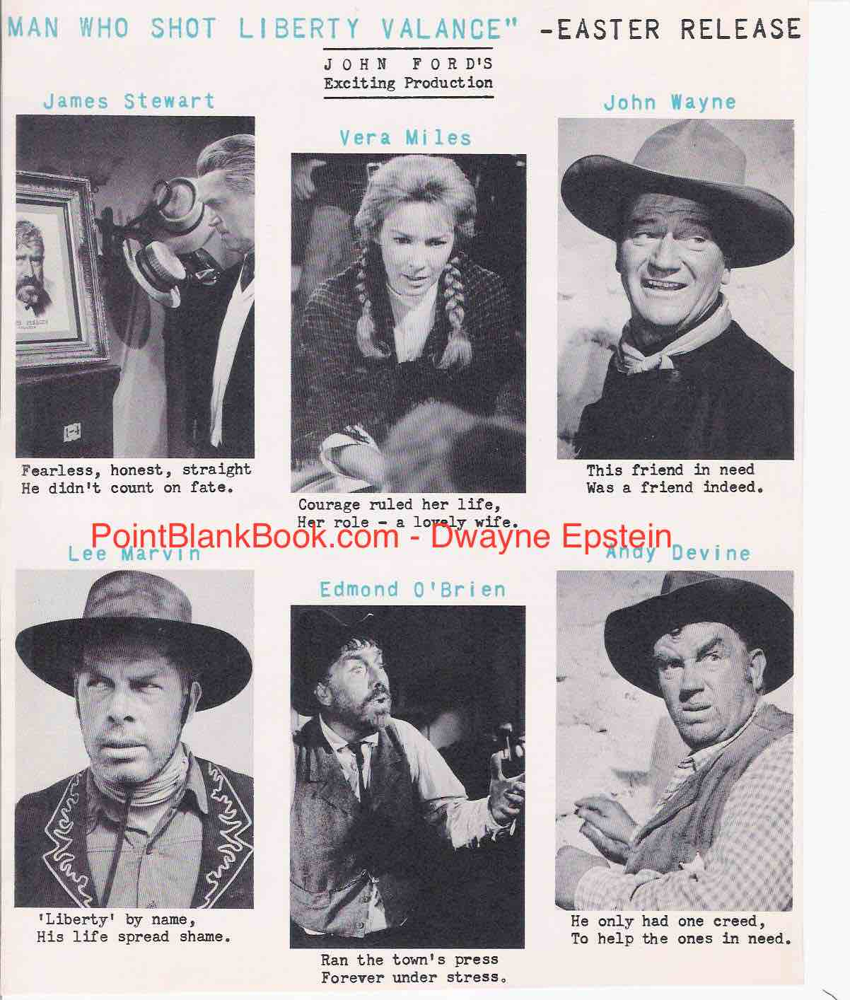 Lee Marvin I Will Be Point Blank About Liberty Valance: LIBERTY VALANCE PREMIERES APRIL 13, 1962